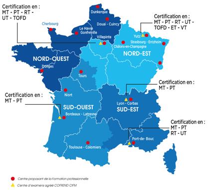 carte des centres d'examen agréés CIFM de la COFREND selon les méthodes RT PT MT UT TOFD ET VT
